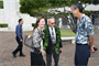 Tammy Luke, who will be taking over as project manager, Gene Castagnetti, Director of National Memorial Cemetery of the Pacific, and Andrew Kohashi, Chief of Military Branch, chat before breaking ground and blessing the new Vietnam Pavilions Project at the National Memorial Cemetery of the Pacific at Punchbowl on May 9.